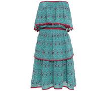 Off-the-shoulder Printed Silk Crepe De Chine Mini Dress Jade
