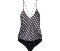 Lewis striped silk-satin and stretch-jersey bodysuit