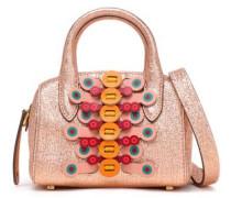 Appliquéd Metallic Cracked-leather Shoulder Bag Rose Gold Size --