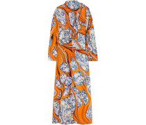 Tie-neck Printed Silk-blend Crepe De Chine Maxi Dress Orange