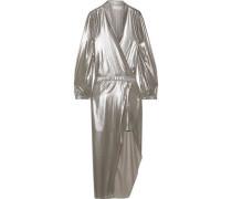 Woman Wrap-effect Asymmetric Lamé Dress Platinum