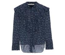 Finley Tie-neck Ruffled Floral-print Silk-chiffon Blouse Navy