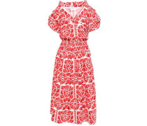 Wrap-effect Printed Cotton Midi Dress Red