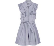 Ruffled cotton-chambray mini dress