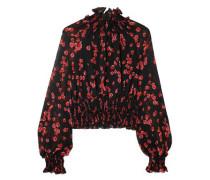 Cropped Shirred Floral-print Silk-chiffon Blouse Black
