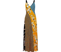 Paneled Printed Silk Maxi Dress Saffron