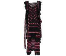 Lace-up Striped Cutout Chiffon Mini Dress Black