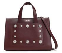 Embellished Leather Shoulder Bag Burgundy Size --