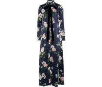 Hero Virginia Pussy-bow Floral-print Velvet Nightdress Navy Size 1