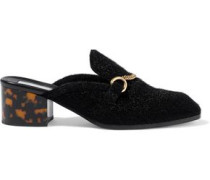 Chain-embellished Faux Calf Hair Mules Black
