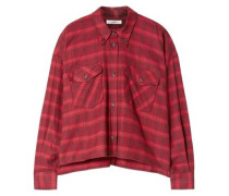 Woman Checked Cotton-flannel Shirt Red