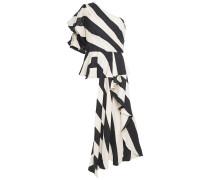 Woman One-shoulder Embellished Linen-blend Peplum Top Ivory