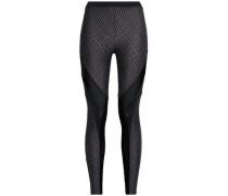 Mesh-paneled coated stretch leggings