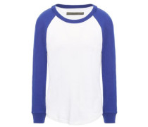 Two-tone Slub Cotton And Cashmere-blend Jersey Top White