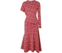 Woman Asymmetric Prince Of Wales Checked Cady Midi Dress Brick
