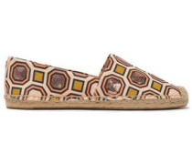 Sequin-embellished Printed Canvas Espadrilles Pastel Orange