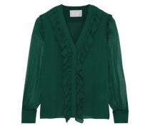 Woman Ruffle-trimmed Silk-chiffon Blouse Leaf Green