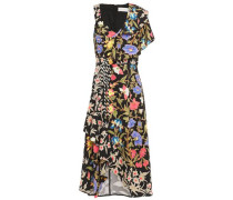 Asymmetric Ruffled Floral-print Cloqué Dress Black