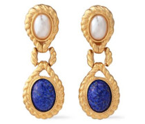 24-karat Gold-plated, Faux Pearl And Stone Clip Earrings Gold Size --