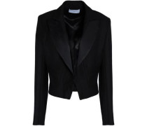 Cropped satin-trimmed crepe jacket