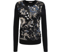 Agnes Merino Wool-paneled Embellished Jacquard-knit Sweater Black