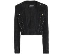 Lace-up fringed suede jacket
