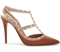 Rockstud Two-tone Leather Pumps Light Brown