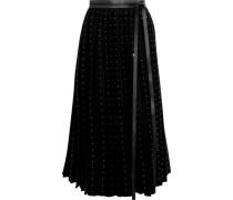 Crystal-embellished Wool-felt Midi Wrap Skirt Black