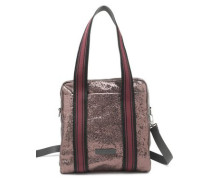 Striped Metallic Textured-leather Shoulder Bag Brass Size --