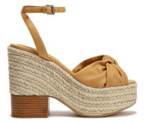 Knotted Leather Espadrille Wedge Sandals Mustard