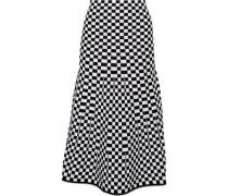 Bead-trimmed checked jacquard-knit midi skirt