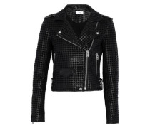 Eyelet-embellished Leather Biker Jacket Black