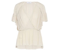 Lesly wrap-effect crinkled gauze top