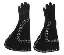 Eyelet-embellished suede gloves