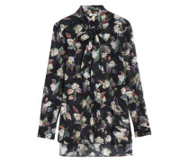 Pussy-bow floral-print cotton and silk-blend blouse
