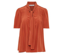 Pussy-bow Washed-silk Blouse Brick