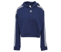 Cropped Striped French Cotton-terry Hooded Sweatshirt Navy  8