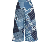Dana patchwork-print linen wide-leg pants