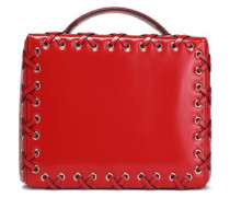Lattice-trimmed glossed-leather shoulder bag