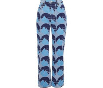 Painted mid-rise straight-leg jeans