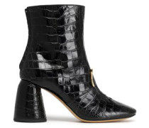 Croc-effect Leather Ankle Boots Black