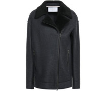 Woman Faux Shearling-trimmed Wool-felt Jacket Anthracite