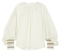 Braid-trimmed Silk-crepe Blouse Off-white