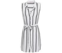 Belted Gauze Mini Dress Dark Gray