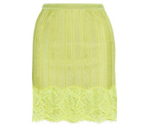Corded Lace-appliquéd Stretch-knit Mini Skirt Lime Green