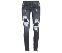 Distressed Mid-rise Skinny Jeans Dark Denim  5