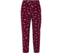 Cropped Floral-print Silk-crepe Slim-leg Pants Plum