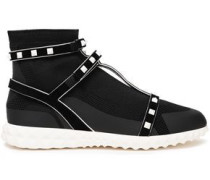 Rockstud Suede-trimmed Stretch-knit And Mesh Sneakers Black