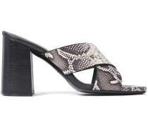 Snake-effect Leather Mules