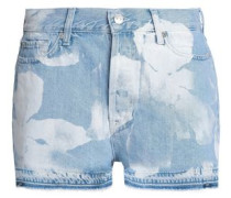 Frayed Bleached Denim Shorts Light Denim